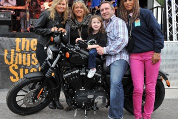 Alisha Finnegan (3),  was the winner of a brand new Harley DavidsonÊmotorcycle in the raffle in aid of  Muscular Dystrophy Ireland at the   Ireland Bike Fest in  Killarney. She is pictured here with her father Larry Finnegan, Breffni Ingerton, Chairperson Ireland Bike Fest , Alison Povey Harley Davidson and Kim Warnock, Muscular Dystrophy Ireland.Ê  Picture: Eamonn Keogh (MacMonagle, Killarney)