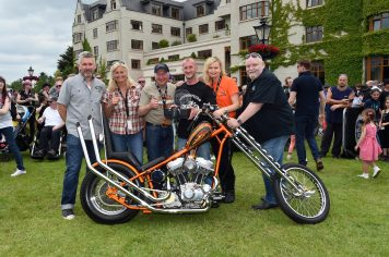 Jeff Murphy, Marjorie Rase, David Hackshall, Greg Pienlowski, Kilkenny 'Best in Show' Harley Davidson Slimline Chopper, Breffni Ingerton and Lenny Burns at ireland Bikefest in The Gleneagle Hotel Killarney. Photo: Don MacMonagle   repro free photo Ireland Bikefest